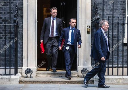Secretary of State for Culture, Media and Sport Jeremy Wright QC (L), Secretary of State for Wales Alun Cairns (C) and Scotland Secretary David Mundell (R) leave 10 Downing Street after the Cabinet meeting.