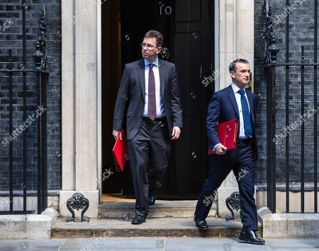 Secretary of State for Culture, Media and Sport Jeremy Wright QC (L) and Secretary of State for Wales Alun Cairns (R) leave 10 Downing Street after the Cabinet meeting.