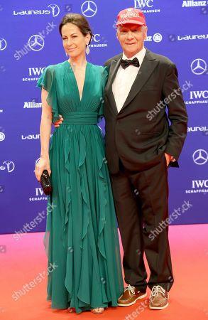 Stock Image of Niki Lauda - Rennfahrer + Ehefrau Birgit Wetzinger - Laureus World Sports Awards