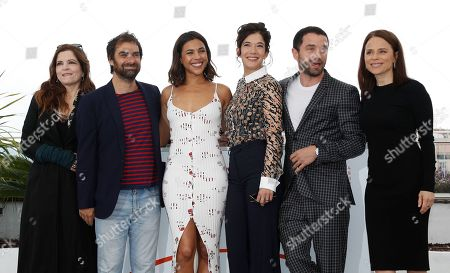 Agnes Jaoui, Gregory Montel, Zita Hanrot, Melanie Doutey, Guillaume Gouix and Suzanne Clement pose during the Talents Adami photocall at the 72nd annual Cannes Film Festival, in Cannes, France, XX May 2019. The festival runs from 14 to 25 May.