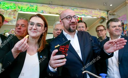 Editorial picture of French-speaking liberals MR and Flemish liberals Open Vld election campaign, Brussels, Belgium - 21 May 2019
