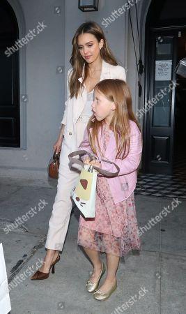 Stock Photo of Jessica Alba with daughter Haven Warren at Craigs restaurant