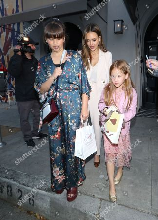 Jessica Alba with daughters Honor Marie and Haven Warren at Craigs restaurant