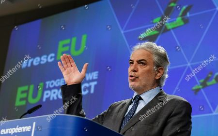 EU commissioner for humanitarian aid and crisis management Christos Stylianides gives a press conference to present new strengthened EU Civil Protection Mechanism called rescEU in Brussels, Belgium, 21 May 2019. RescEU reserve capacity entered into force and boosts the EU's ability to respond to and prepare for natural and man-made disasters. rescEU capacities are to be used whenever Member States cannot cope with a disaster themselves and require extra EU assistance that needs to be delivered fast.