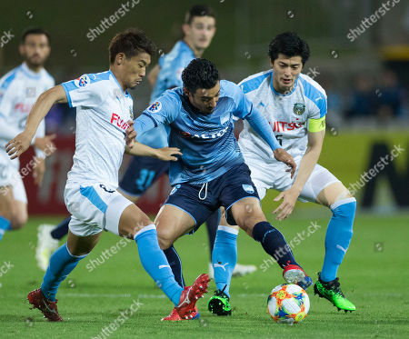 Stock Photo of Reza Ghoochannejhad (C) of Sydney in action during the AFC Champions League Group H soccer match between Sydney FC and Kawasaki Frontale at Netstrata Jubilee Stadium in Sydney, Australia, 21 May 2019.