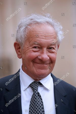 British historian Simon Schama leaves the Elysee following his meeting with French President Emmanuel Macron (not pictured) and others European Philosophers and Intellectuals in Paris, France, 21 May 2019.