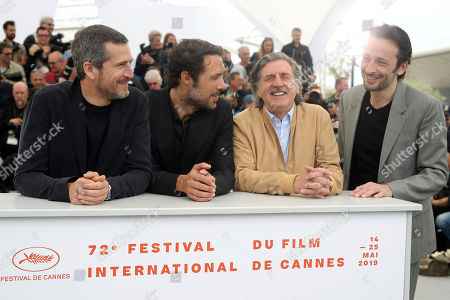 Guillaume Canet, Nicolas Bedos, Daniel Auteuil, Michael Cohen. Actor Guillaume Canet, from left, director Nicolas Bedos, actors Daniel Auteuil and Michael Cohen pose for photographers at the photo call for the film 'La Belle Epoque' at the 72nd international film festival, Cannes, southern France