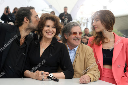 Nicolas Bedos, Fanny Ardant, Daniel Auteuil, Doria Tillier. Director Nicolas Bedos, from left, actors Fanny Ardant, Daniel Auteuil and Doria Tillier pose for photographers at the photo call for the film 'La Belle Epoque' at the 72nd international film festival, Cannes, southern France