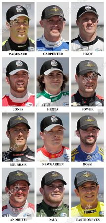 Simon Pagenaud, Ed Carpenter, Spencer Pigot, Ed Jones, Colton Herta, Will Power, Sebastien Bourdais, Josef Newgarden, Alexander Rossi, Marco Andretti, Conor Daly, Helio Castroneves. Drivers in the starting field for the May 26 Indianapolis 500 IndyCar auto race are shown after they qualified at the Indianapolis Motor Speedway in Indianapolis, . First row: Simon Pagenaud, of France, Ed Carpenter and Spencer Pigot. Second row: Ed Jones, of United Arab Emirates, Colton Herta and Will Power, of Australia. Third row: Sebastien Bourdais, of France, Josef Newgarden and Alexander Rossi. Fourth row: Marco Andretti, Conor Daly and Helio Castroneves, of Brazil