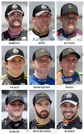 Jack Harvey, Jordan King, Ben Hanley, Zach Veach, Felix Rosenqvist, Pippa Mann, Sage Karam, James Hinchcliffe, Kyle Kaiser. Drivers in the starting field for the May 26 Indianapolis 500 IndyCar auto race are shown after they qualified at the Indianapolis Motor Speedway in Indianapolis, . Ninth row: Jack Harvey, of England, Jordan King, of England, and Ben Hanley. Tenth row: Zach Veach, Felix Rosenqvist, of Sweden, and Pippa Mann, of England. Eleventh row: Sage Karam, James Hinchcliffe, of Canada, and Kyle Kaiser