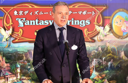 Walt Disney Company chairman Robert Iger delivers a speech as he attends a ground breaking ceremony for Tokyo DisneySea's large expansion area which will be named 'Fantasy Springs' in Urayasu, suburban Tokyo on Tuesday, May 21, 2019. Tokyo DisneySea operator Oriental Land will invest 250 billion yen for the new facilities including 475-guest room luxury in-park hotel and which will open in 2022.