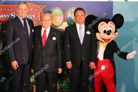 Walt Disney Company chairman Robert Iger, Oriental Land chairman Toshio Kagami and Oriental Land president Kyoichiro Uenishi pose for photo with Mickey Mouse as they attend a ground breaking ceremony for Tokyo DisneySea's large expansion area which will be named 'Fantasy Springs' in Urayasu, suburban Tokyo on Tuesday, May 21, 2019. Tokyo DisneySea operator Oriental Land will invest 250 billion yen for the new facilities including 475-guest room luxury in-park hotel and which will open in 2022.