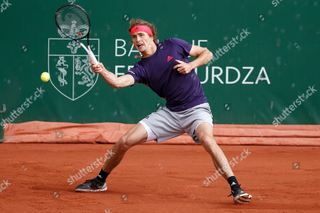 Alexander Zverev of Germany in action during his match against Ernests Gulbis of Latvia at the ATP 250 Geneva Open tennis tournament in Geneva, Switzerland, 21 May 2019.