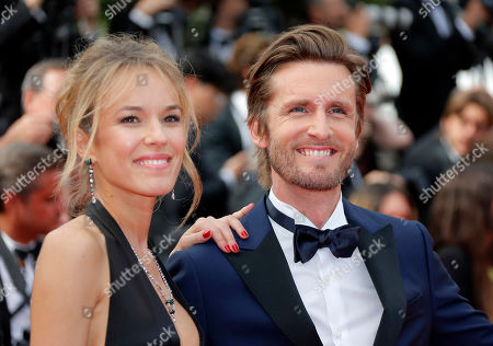 Philippe Lacheau (R) and French actress Elodie Fontan at the screening of 'Once Upon a Time in Hollywood'