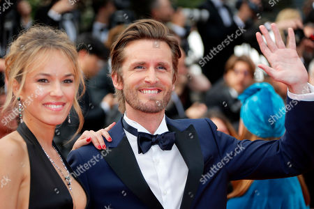 Philippe Lacheau (R) and French actress Elodie Fontan (L) at the screening of 'Once Upon a Time in Hollywood'