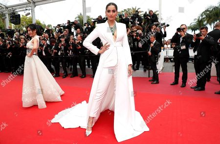 Sonam Kapoor arrives for the screening of 'Once Upon A Time... In Hollywood' during the 72nd annual Cannes Film Festival, in Cannes, France, 21 May 2019. The movie is presented in the Official Competition of the festival which runs from 14 to 25 May.