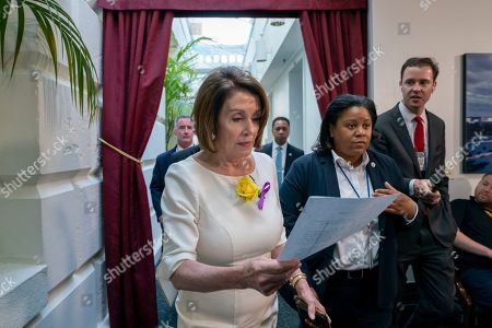 Speaker of the House Nancy Pelosi, D-Calif., departs a meeting with the Democratic Caucus where members heard from former CIA Director John Brennan about the situation in Iran, at the Capitol in Washington