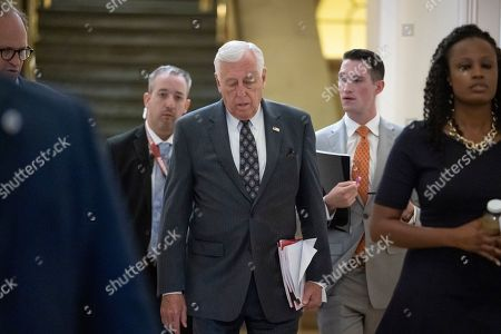 House Majority Leader Steny Hoyer, D-Md., arrives to meet with the Democratic Caucus where members will hear from former CIA Director John Brennan about the situation in Iran, at the Capitol in Washington