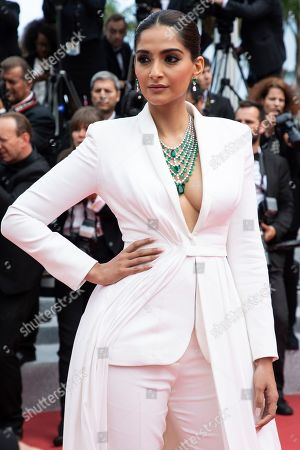 Sonam Kapoor poses for photographers upon arrival at the premiere of the film 'Once Upon a Time in Hollywood' at the 72nd international film festival, Cannes, southern France