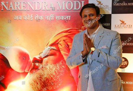 """Vivek Anand Oberai. Bollywood actor Vivek Oberoi poses for photographs during the premiere of the film """"PM Narendra Modi,"""" a film based on the life of the Indian Prime Minister, in Ahmadabad, India, . The film is scheduled to release on May 24, a day after counting o votes of India's general elections"""