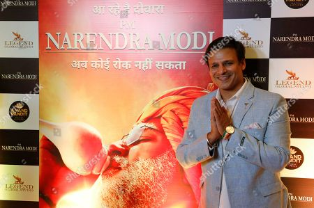 """Bollywood actor Vivek Oberoi poses for photographs during the premiere of the film """"PM Narendra Modi,"""" a film based on the life of the Indian Prime Minister, in Ahmadabad, India, . The film is scheduled to release on May 24, a day after counting o votes of India's general elections"""