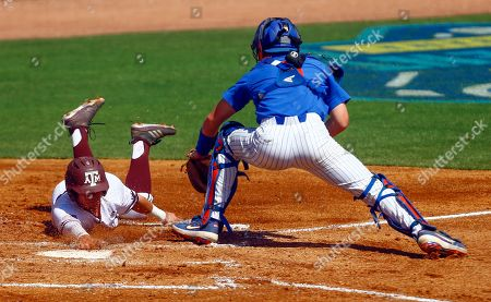 Brady Smith, Ty Coleman. Texas A&M's Ty Coleman (1) beats the tag from Florida Catcher Brady Smith (9) as he slides into home plate for the score during the third inning of the Southeastern Conference tournament NCAA college baseball game, in Birmingham, Ala