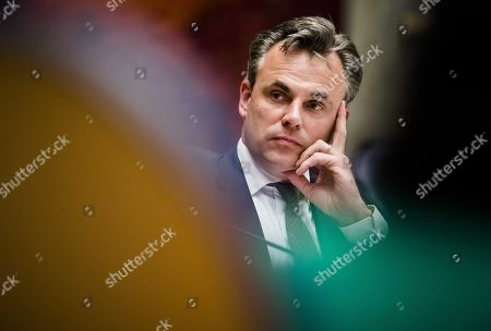 Netherlands Secretary of State of the People's Party for Freedom and Democracy (VVD) Mark Harbers during a press conference in the Ministry of Justice and Security in The Hague, The Netherlands, 21 May 2019. According to reports, the Dutch junior justice minister Mark Harbers has quit after his department came under fire for appearing to minimize statistics about criminality among asylum seekers. Harbers was discredited after his report about criminal asylum seekers, in which he appeared to have classified very serious incidents such as (attempted) murder and manslaughter, assault and sexual offenses under the category 'other'.