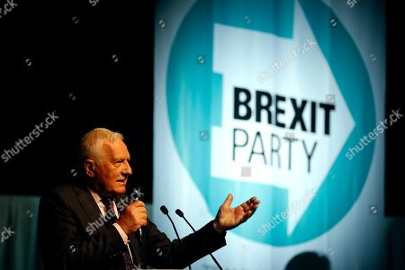Stock Picture of Former Czech President Vaclav Klaus delivers a speech during a Brexit Party rally in London, . Some 400 million Europeans from 28 countries head to the polls from Thursday to Sunday to choose their representatives at the European Parliament for the next five years. Farage's Brexit Party is leading opinion polls in the contest for 73 U.K. seats in the 751-seat European Parliament