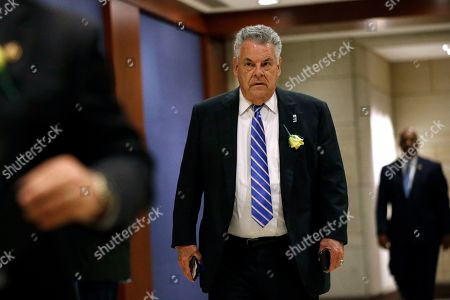 Rep. Peter King, R-N.Y., arrives for a classified members-only briefing on Iran, on Capitol Hill in Washington