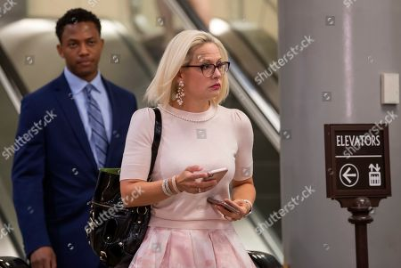 Democratic Senator from Arizona Kyrsten Sinema arrives to attend a classified intelligence briefing on Iran to members of the US Senate at the Capitol in Washington, DC, USA, 21 May 2019. The administration of President Trump is briefing Congress on intelligence that has prompted the US military build up against reported Iranian threats in the Persian Gulf region.