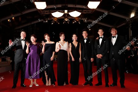 Bong Joon-ho, South Korean actor Choi Woo-shik, South Korean actor Lee Sun-kyun, South Korean actress Cho Yeo-jeong, South korean actress Chang Hyae-jin and South Korean actress Park So-dam, South Korean actress Lee Jung-Eun and South Korean actor Kang-ho Song arrive for the screening of 'Parasite' during the 72nd annual Cannes Film Festival, in Cannes, France, 21 May 2019. The movie is presented in the Official Competition of the festival which runs from 14 to 25 May.