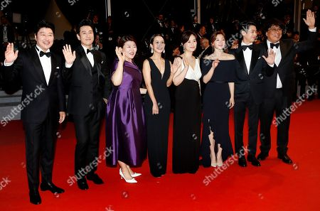 Kang-ho Song, South Korean actor Lee Sun-kyun, South Korean actress Lee Jung-Eun, South Korean actress Park So-dam, South Korean actor Choi Woo-shik, South Korean actress Cho Yeo-jeong, South korean actress Chang Hyae-jin and South Korean director Bong Joon-ho arrive for the screening of 'Parasite' during the 72nd annual Cannes Film Festival, in Cannes, France, 21 May 2019. The movie is presented in the Official Competition of the festival which runs from 14 to 25 May.