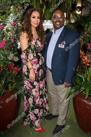 Singer Rebecca Ferguson and Donovan Donaldson, Business Development Manager, Jamaica Tourist Board attend the launch of The Jamaica One Love Garden at Boisdale venue, Canary Wharf. The 65-meter garden terrance has been transformed into The Jamaica One Love Garden designed by Bruce Dallow, Director of Plant Plan.