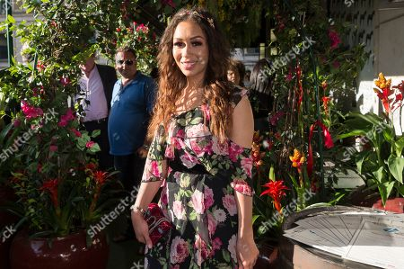 Rebecca Ferguson attends the launch of The Jamaica One Love Garden at Boisdale venue, Canary Wharf. The 65-meter garden terrance has been transformed into The Jamaica One Love Garden designed by Bruce Dallow, Director of Plant Plan.