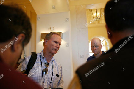 New York Giants co-owner, John Mara, speaks to the media during the NFL owners meeting, in Key Biscayne, Fla