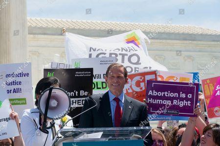 United States Senator Richard Blumenthal (Democrat of Connecticut) joined demonstrators outside of the Supreme Court.