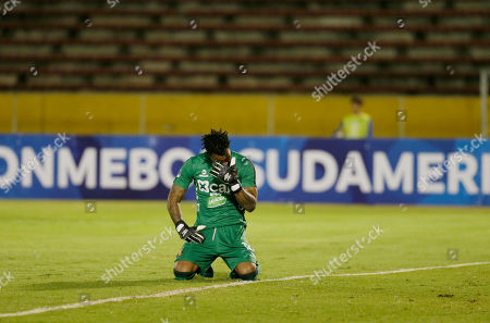 Carlos Caceda, goalkeeper of Peru's Melgar reacts after the sixth goal against his team during a Copa Sudamericana soccer match in Quito, Ecuador