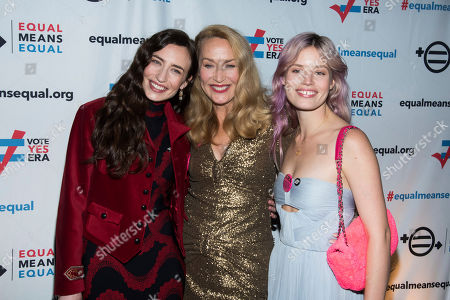 Jerry Hall, Elizabeth Jagger, Georgia May Jagger, Elizabeth. Elizabeth Jagger, left, Jerry Hall and Georgia May Jagger attend the Equal Means Equal campaign for equal rights launch at The Times Square Edition, in New York