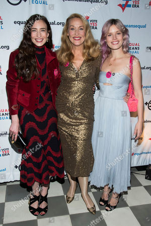 Jerry Hall, Lizzy Jagger, Georgia May Jagger, Elizabeth Jagger. Lizzy Jagger, from left, Jerry Hall and Georgia May Jagger attend the Equal Means Equal campaign for equal rights launch at The Times Square Edition, in New York