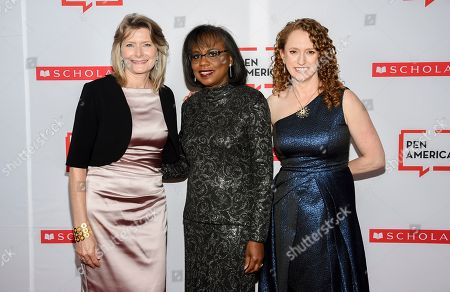 Jennifer Egan, Anita Hill, Suzanne Nossel. PEN America president Jennifer Egan, left, PEN courage award recipient Anita Hill and PEN America CEO Suzanne Nossel pose together at the 2019 PEN America Literary Gala at the American Museum of Natural History, in New York