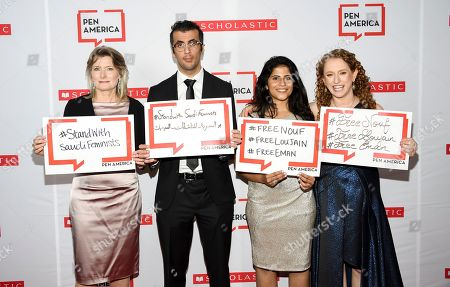Jennifer Egan, Walid Al-Hathloul, Lina Al-Hathloul, Suzanne Nossel. PEN America president Jennifer Egan, left, Walid Al-Hathloul, Lina Al-Hathloul and PEN America CEO Suzanne Nossel pose together holding signs in support of jailed Saudi women's rights activists Nouf Abdulaziz, Loujain Al-Hathloul and Eman Al-Nafjan at the 2019 PEN America Literary Gala at the American Museum of Natural History, in New York