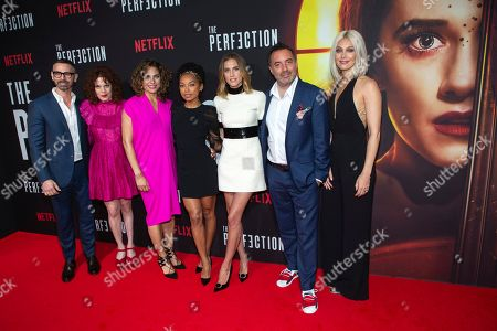 "Eric Charmelo, Nicole Snyder, Stacey Reiss, Logan Browning, Allison Williams, Richard Shepard, Alaina Huffman. Writers Eric Charmelo, from left, Nicole Snyder, producer Stacey Reiss, actresses Logan Browning, Allison Williams, director/writer/producer Richard Shepard, and actress Alaina Huffman attend a special screening of Netflix's ""The Perfection"" at Metrograph, in New York"
