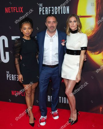 "Richard Shepard, Logan Browning, Allison Williams. Director/writer/producer Richard Shepard, center, actresses Logan Browning, left, and Allison Williams attend a special screening of Netflix's ""The Perfection"" at Metrograph, in New York"