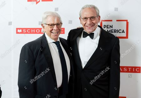 Stock Photo of Carl Berstein, Bob Woodward. PEN literary service award recipient Bob Woodward, right, poses with fellow journalist and author Carl Bernstein at the 2019 PEN America Literary Gala at the American Museum of Natural History, in New York