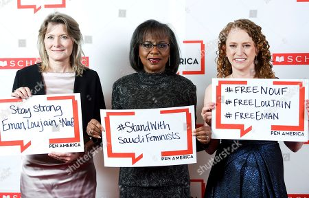 Jennifer Egan, Anita Hill, Suzanne Nossel. PEN America president Jennifer Egan, left, PEN courage award recipient Anita Hill and PEN America CEO Suzanne Nossel pose together holding signs in support of jailed Saudi women's rights activists Nouf Abdulaziz, Loujain Al-Hathloul and Eman Al-Nafjan at the 2019 PEN America Literary Gala at the American Museum of Natural History, in New York