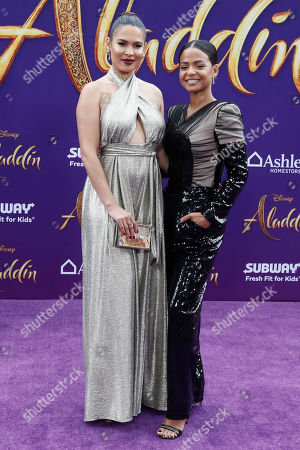 Nadine Velazquez (L) and US actress Christina Milian (R) pose on the red carpet during Disney's 'Aladdin' movie premiere at the El Capitan Theatre in Hollywood, California, USA, 21 May 2019. The movie opens in US theaters on 24 May 2019.