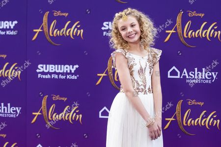 Mallory James Mahoney poses on the red carpet during Disney's 'Aladdin' movie premiere at the El Capitan Theatre in Hollywood, California, USA, 21 May 2019. The movie opens in US theaters on 24 May 2019.