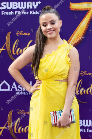 Sarah Jeffery poses on the red carpet during Disney's 'Aladdin' movie premiere at the El Capitan Theatre in Hollywood, California, USA, 21 May 2019. The movie opens in US theaters on 24 May 2019.