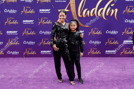 Stock Image of Christina Milian (L) and her daughter Violet Madison Nash (R) pose on the red carpet during Disney's 'Aladdin' movie premiere at the El Capitan Theatre in Hollywood, California, USA, 21 May 2019. The movie opens in US theaters on 24 May 2019.