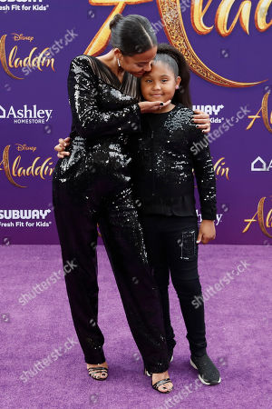 Christina Milian (L) and her daughter Violet Madison Nash (R) pose on the red carpet during Disney's 'Aladdin' movie premiere at the El Capitan Theatre in Hollywood, California, USA, 21 May 2019. The movie opens in US theaters on 24 May 2019.